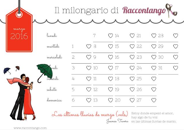 Milongario di marzo - il calendario del perfetto tanguero