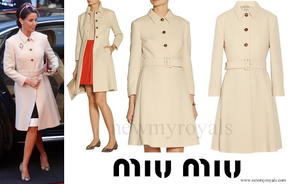 Princess Marie wore Miu Miu belted wool crepe coat
