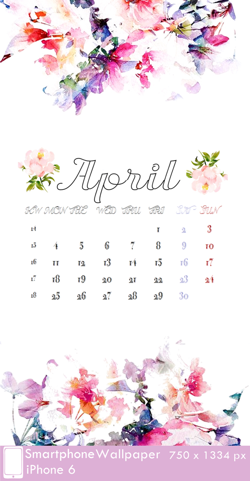 iPhone 6 Wallpaper Calendar 4 April 750 x 1334 px
