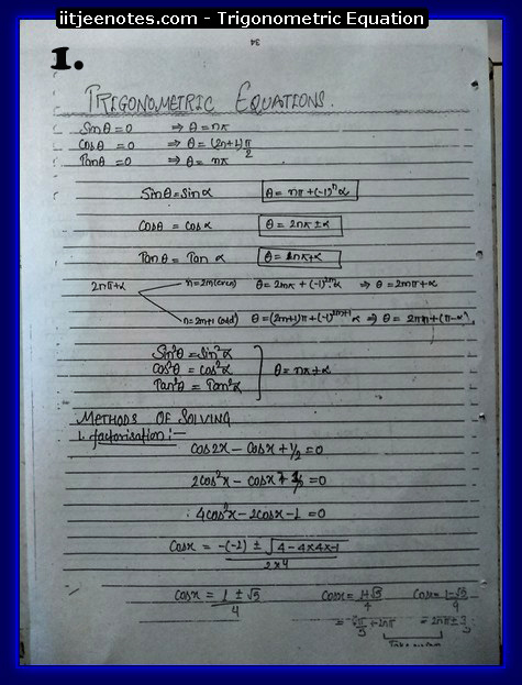Trigonometric Equation Notes