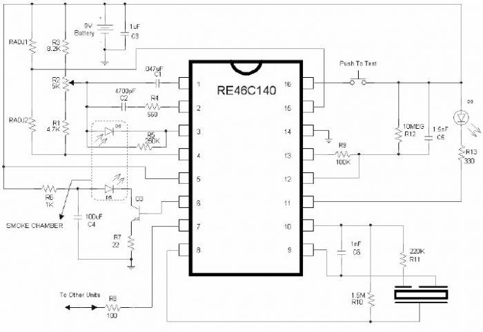 alarm 5 zone circuit using cmos ic