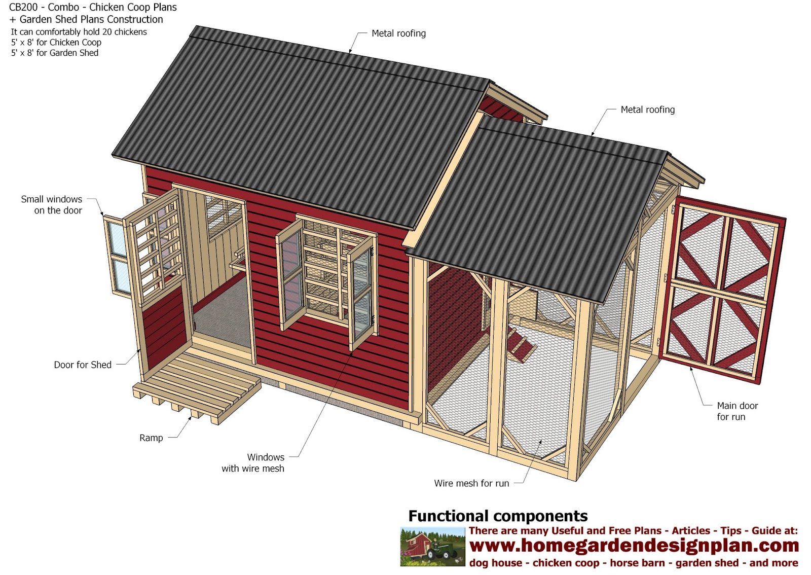 Home garden plans cb200 combo plans chicken coop for Homegardendesignplan