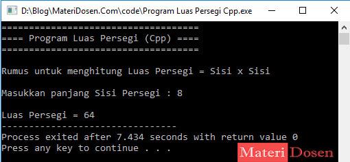 Program Menghitung Luas Persegi Pada Bahasa C++