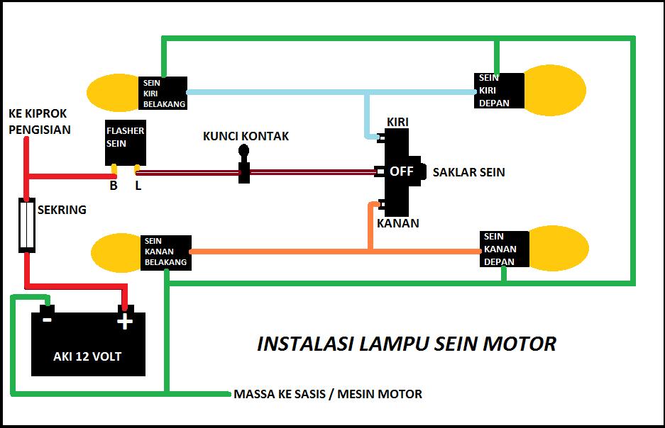 Pleasing Cara Membuat Rangkaian Instalasi Lampu Sein Motor Servismotor Wiring Database Gramgelartorg