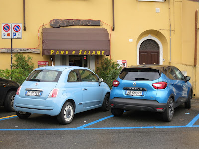 Fiat 500 Mini and Renault Captur Compact, Carrara,  Italy.