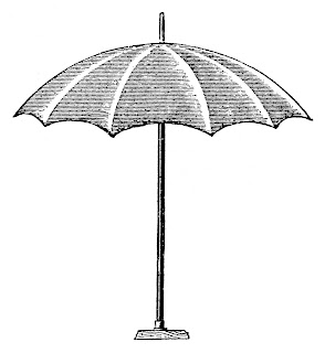 Vintage Patio Umbrella Digital Illustration Royalty-Free Summer Drawing