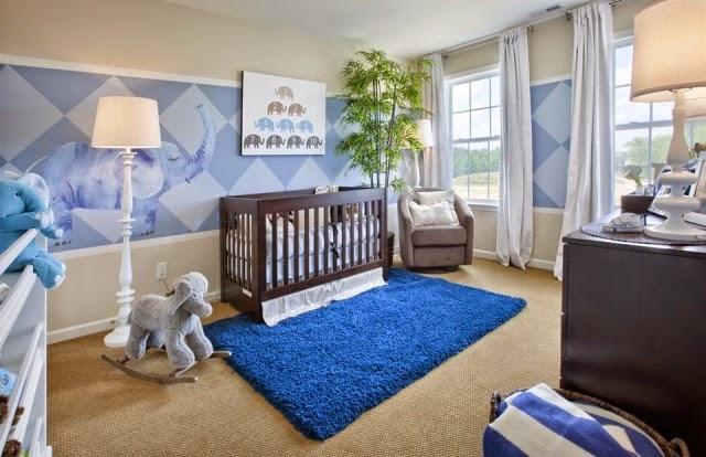 Cuarto bebé azul marrón
