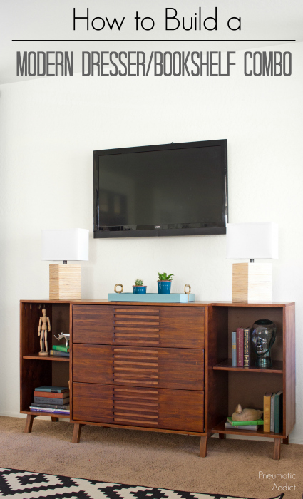 How to build a space saving modern dresser bookshelf combo with free building plans