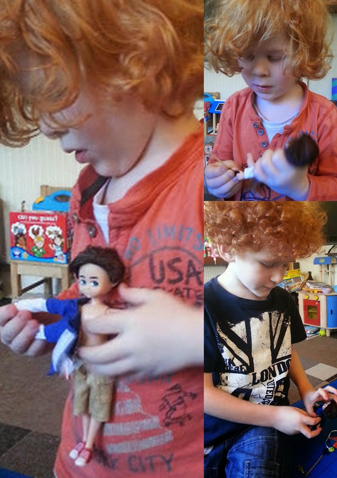 4 and 6 year old boys playing with dolls