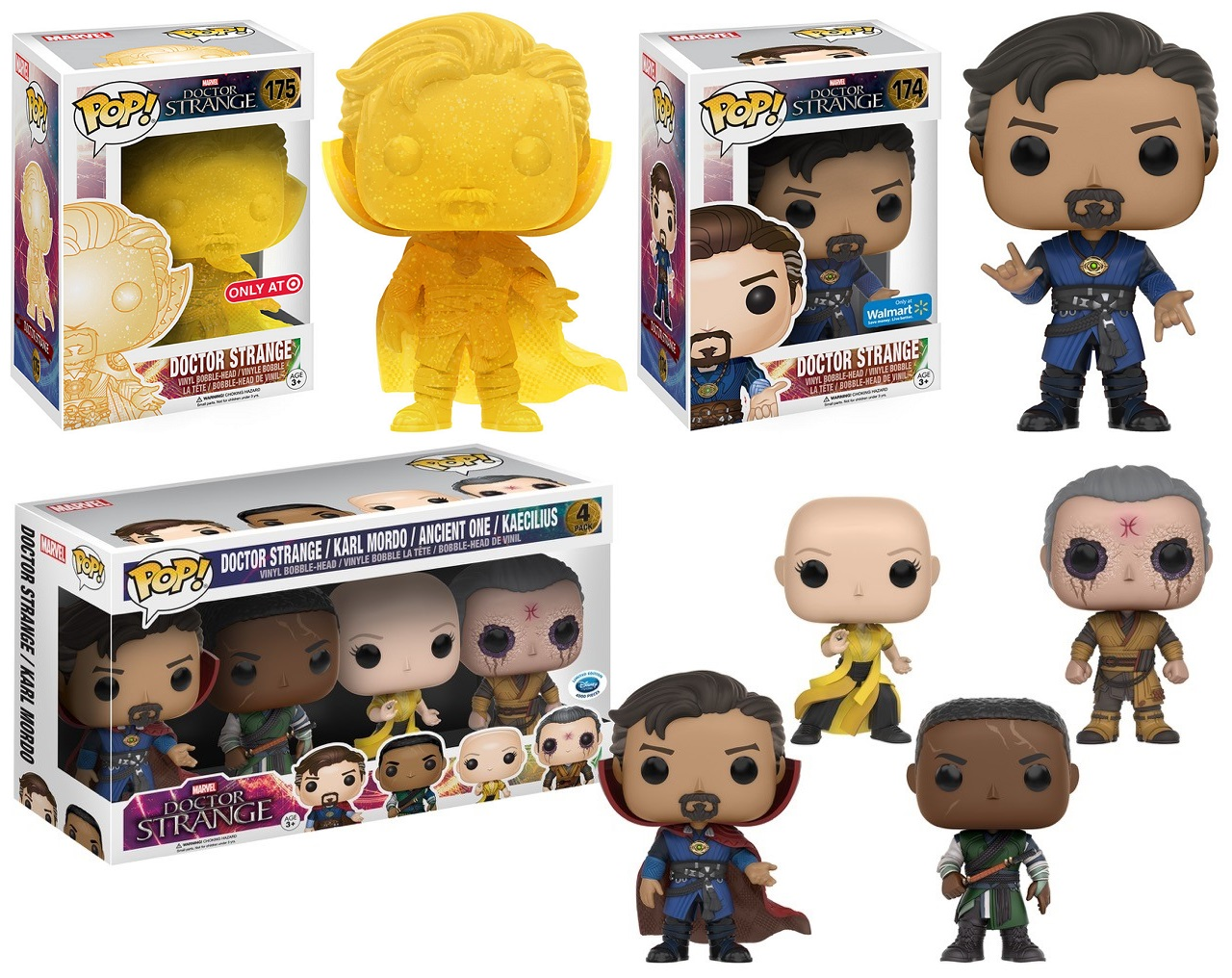 fe93006f252 Retailer Exclusive Doctor Strange Movie Pop! Marvel Variant Figures by Funko