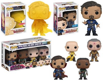 "Retailer Exclusive Doctor Strange Movie Pop! Marvel Variant Figures by Funko - Walmart Exclusive ""Spellcasting Pose"" Doctor Strange, Target Exclusive ""Astral Projection"" Doctor Strange, Disney Store Exclusive Doctor Strange Movie Pop! 4 Pack"