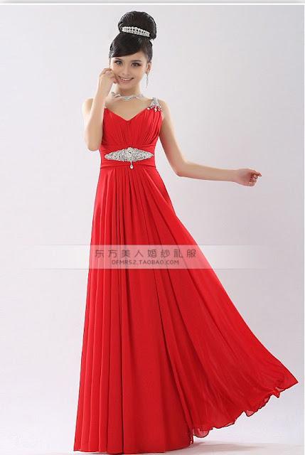 Model Gaun Untuk Pesta Warna Merah Terbaru