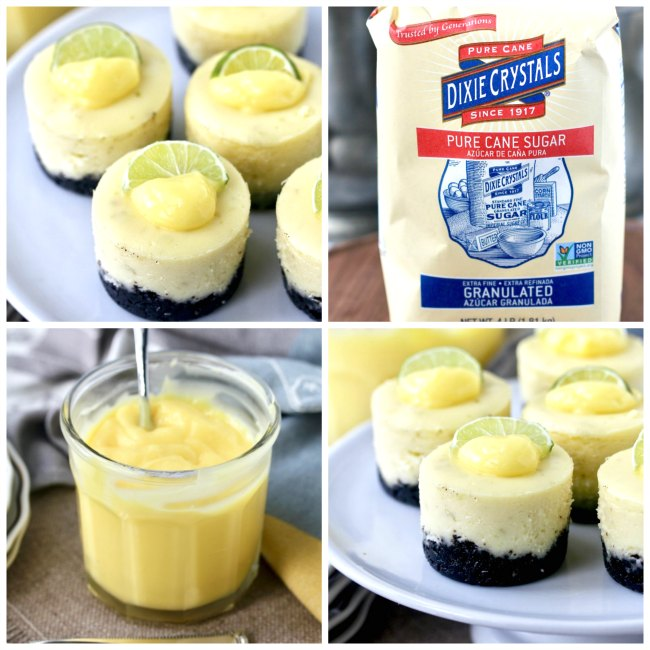 Key lime cheesecakes with Dixie Crystals