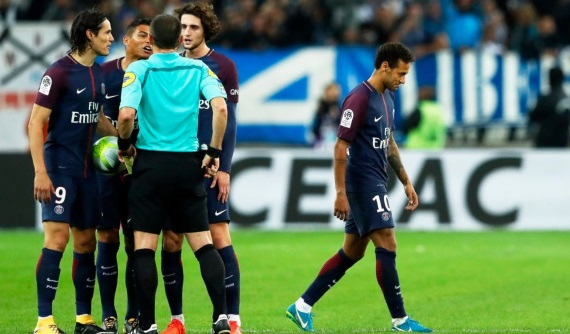 PSG were held to a 2-2 draw away at Marseille as Neymar was dismissed for a second bookable offence