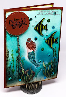 Linda Vich Creates: Magical Mermaid Birthday. A sparkly, tropical underwater scene is created with both the Magical Mermaid and Seaside Shore stamp sets.