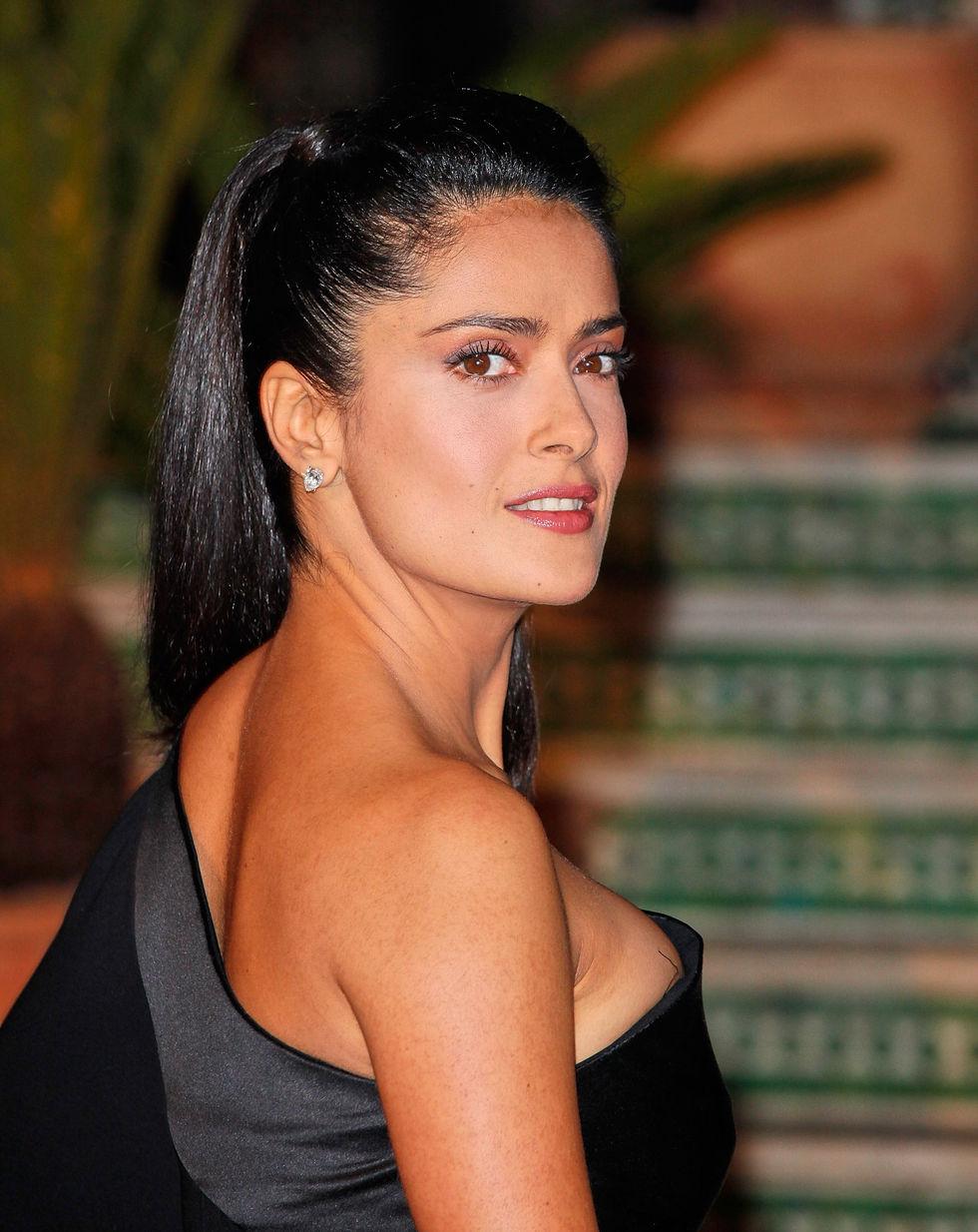 Mexican Actress Salma Hayek In Black Dress