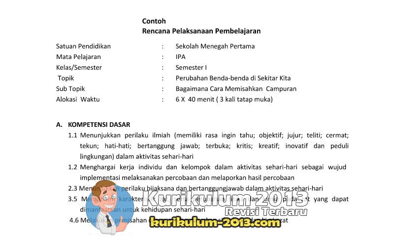 Download Contoh RPP dan Silabus SMP-MTS Kurikulum 2013