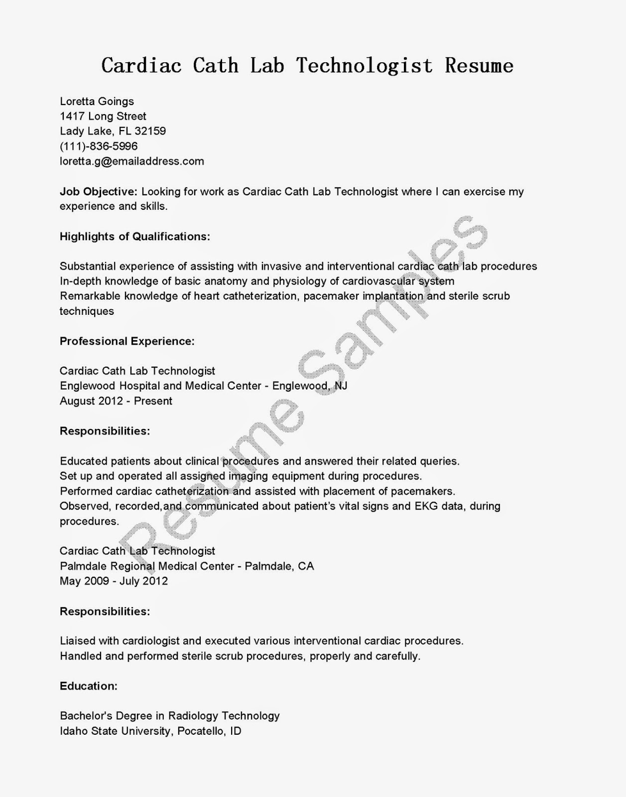 Cath Lab Tech Resume Resume Samples Cardiac Cath Lab Technologist Resume Sample