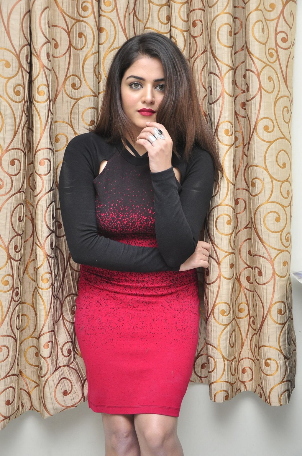 Glamours Tollywood Actress Wamiqa Gabbi Hot Stills In Red Dress