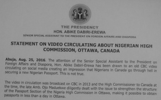 Nigeria High Commission Ottawa Canada