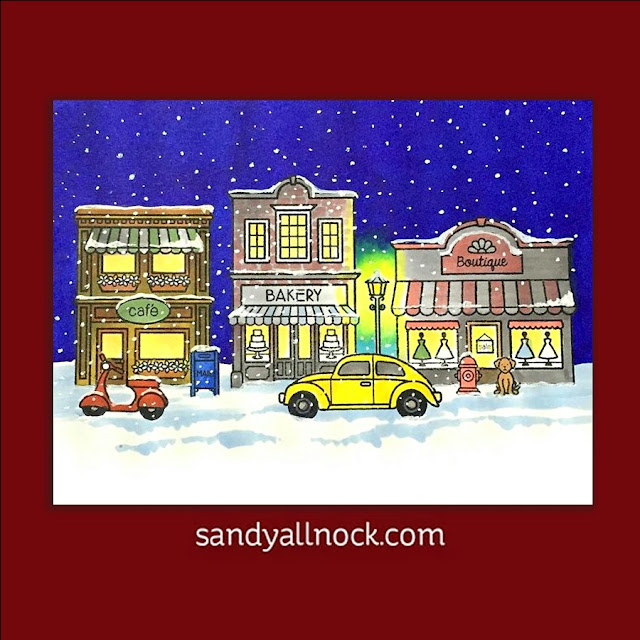 Sunny Studio Stamps: City Streets Holiday Christmas Card by Sandy Allnock