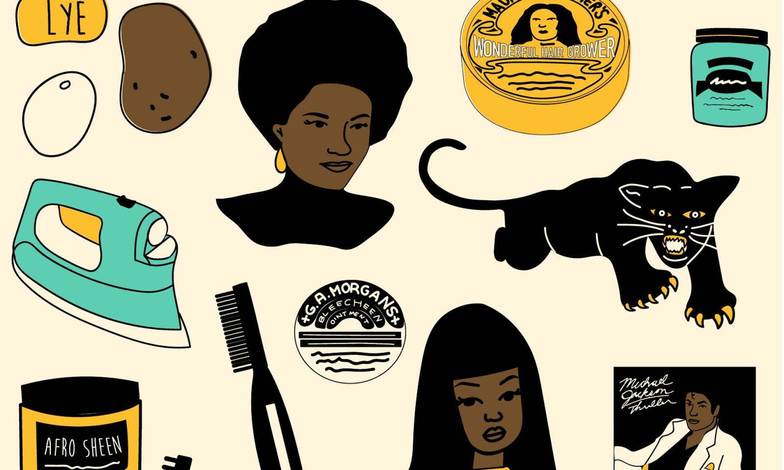 An illustration image showing an assortment of black hair products and, an image of a black woman with an afro.
