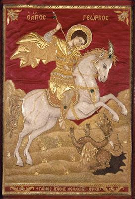 Εικόνα: Άγιος Γεώργιος ο δράκος-φονιάς - Καλλιτέχνης: Μοναχή Αγάθη - Ημερομηνία: 1729, Μουσείο Μπενάκη, Αθήνα.