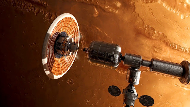 Journey to Space image - spaceship Mars orbit
