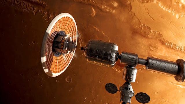 Journey to Space image - spaceship Mars orbit