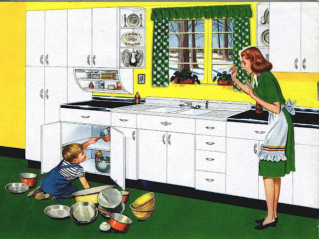 a 1947 illustration of a stressed mother with child in kitchen