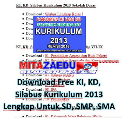 Download Free KI, KD, Silabus Kurikulum 2013 Lengkap Untuk SD, SMP, SMA