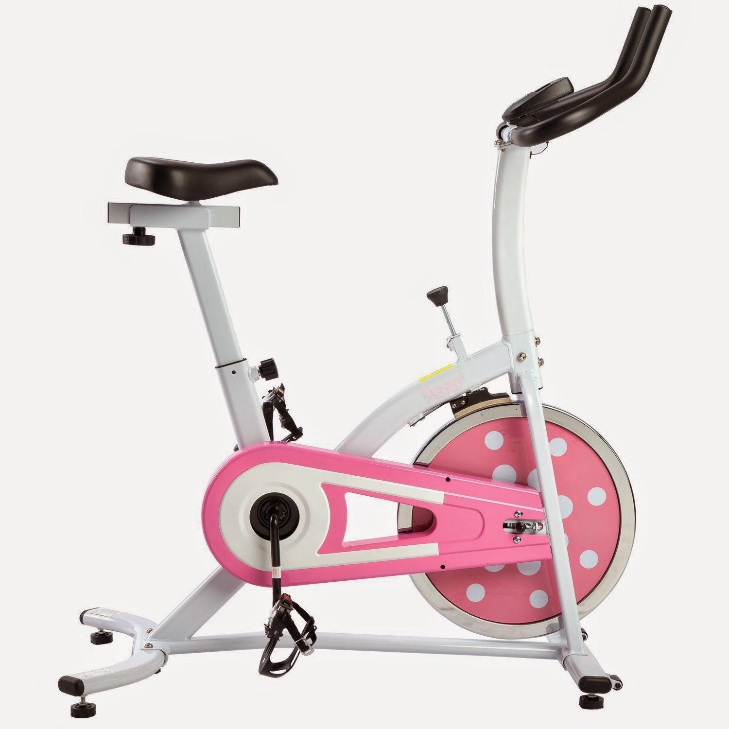 Sunny Health & Fitness Pink Indoor Cycling Bike / Spin Bike, review features, adjustable resistance, 22 lbs flywheel, chain drive