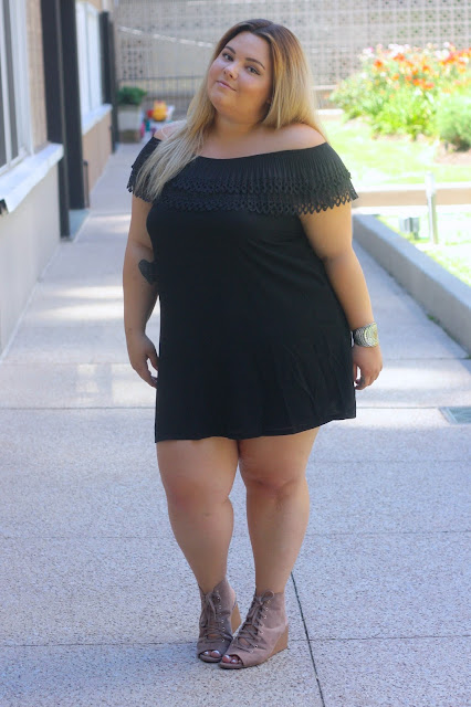 Perfectly Priscilla, natalie in the city, natalie craig, plus size fashion blogger, off the shoulder dress, latina, chicago fashion blogger, plus size fashion, plus size off the shoulder, Forever 21 plus