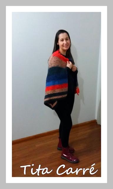 Cape e ponche em tricot
