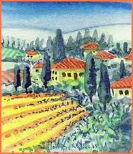 Tuscan landscape, original art, watercolour painting, dollhouse scale, 1:12, Italy, Italian,