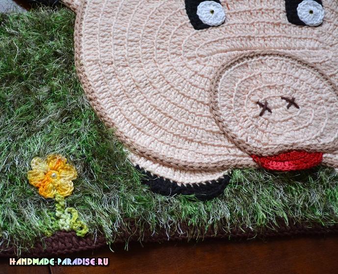 Поросенок на травке - схемы вязания детского коврика (6)