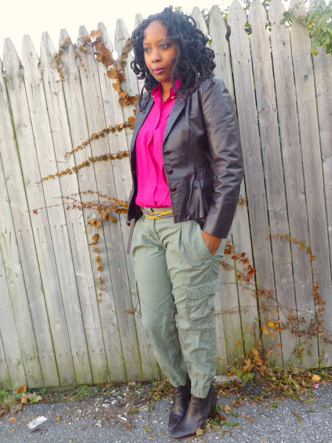 Fuchsia blouse and cargo pants