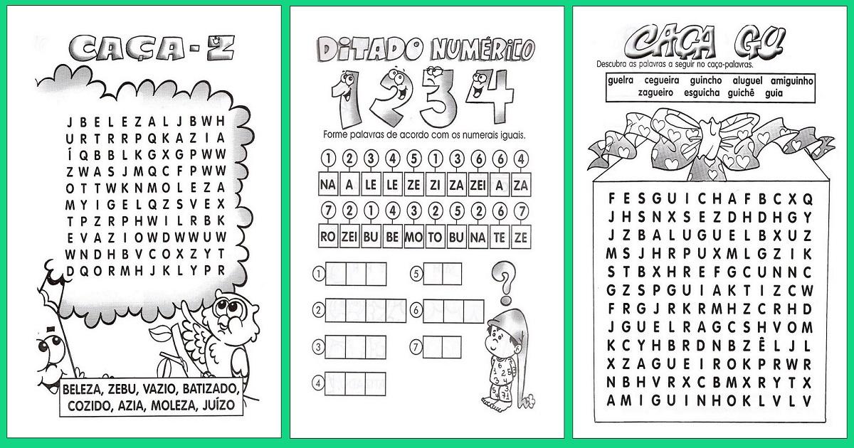 Famosos Atividades de Alfabetização para o 1º,2º e 3º ano — SÓ ESCOLA ZR95