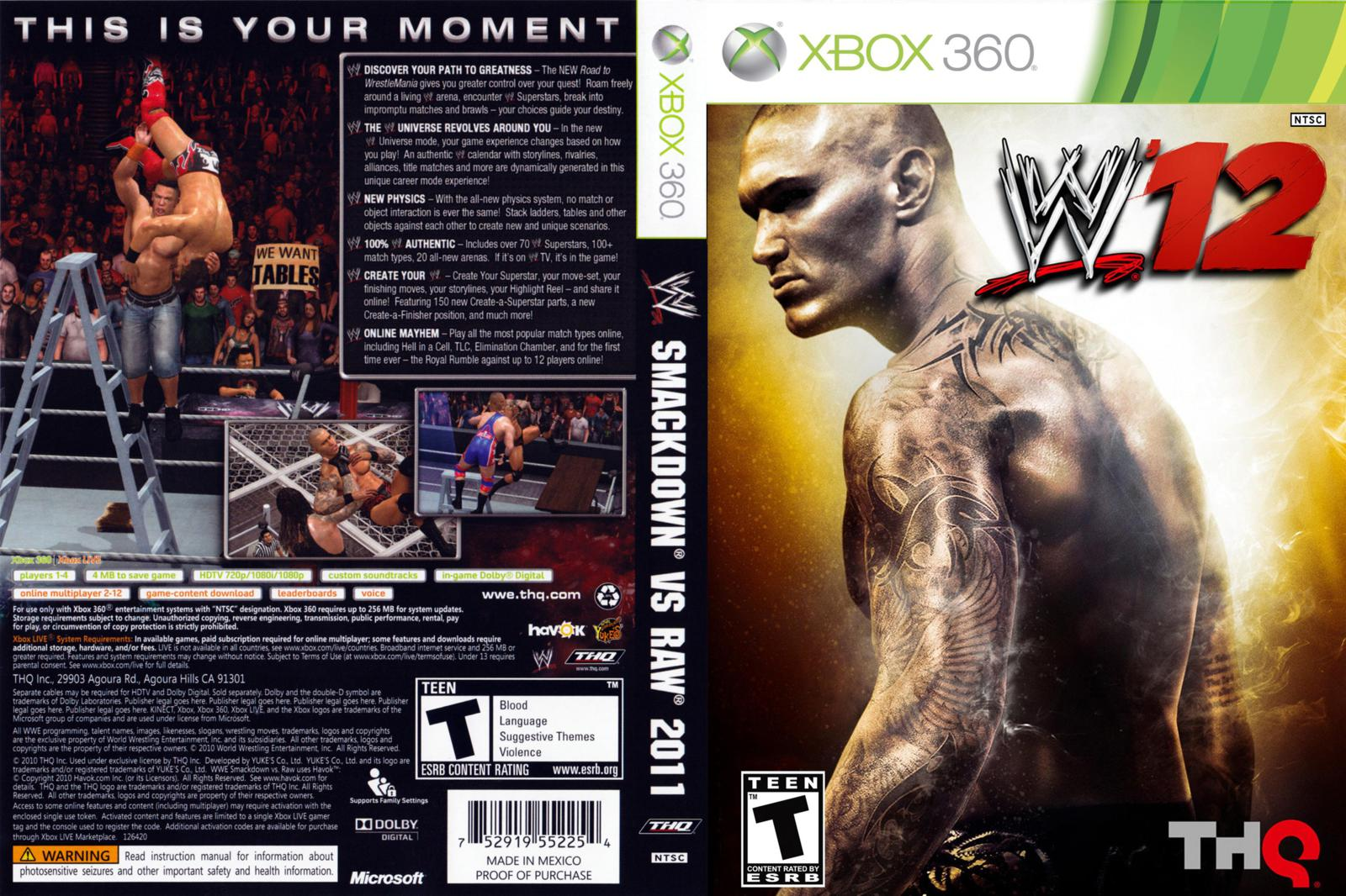 WWE '12 - Xbox 360 Download | KTR Download Xbox 360 Game Covers Download