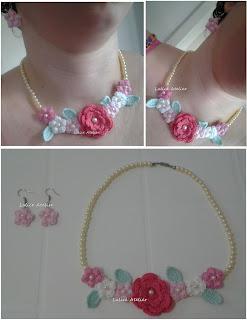 colar de flores, flores de crochê