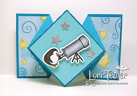 Good Friends Are Like Stars Diamond Fold card-designed by Lori Tecler/Inking Aloud-stamps, dies, and cut file from The Cat's Pajamas