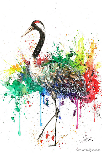 Watercolor crane rainbow drawing