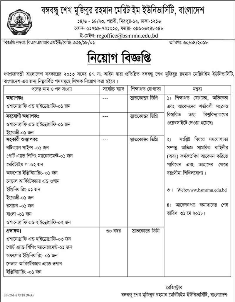 Bangladesh Sheikh Mujibur Rahman Maritime University Jobs Circular 2018