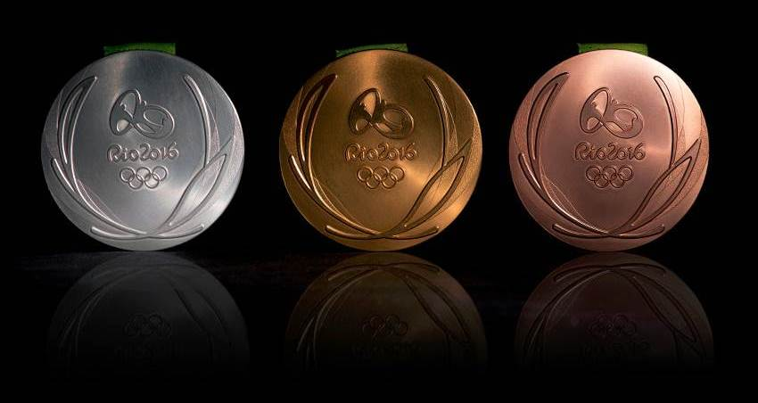 Penampakan penampilan belakang Bentuk Medali Olimpiade 2016 Rio Brasil