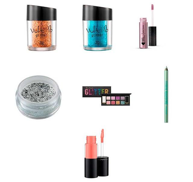 Produtos para maquiagem com glitter