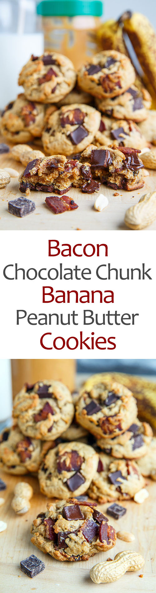 Soft and Chewy Banana Peanut Butter Cookies with Chocolate Chunks and Bacon