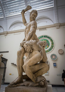 Marble sculpture of Giambologna's 'Sampson Slaying a Philistine' in the V&A