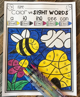 Spring Color by Sight Words ELA and Literacy Printbales