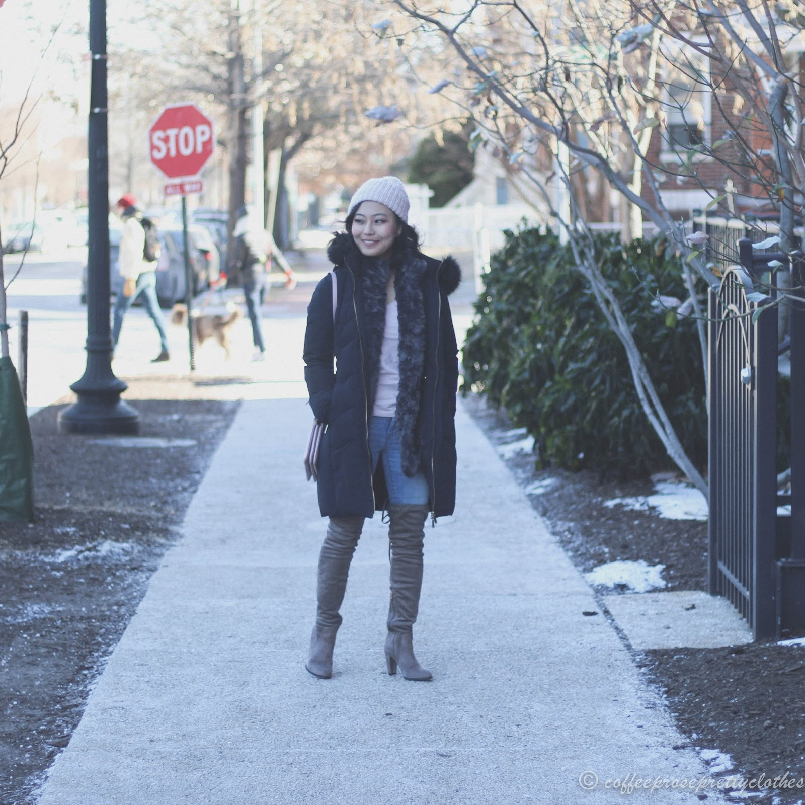 Zara puffer coat, Catherine Malandrino Over the knee boots, Kate Spade Madelyne