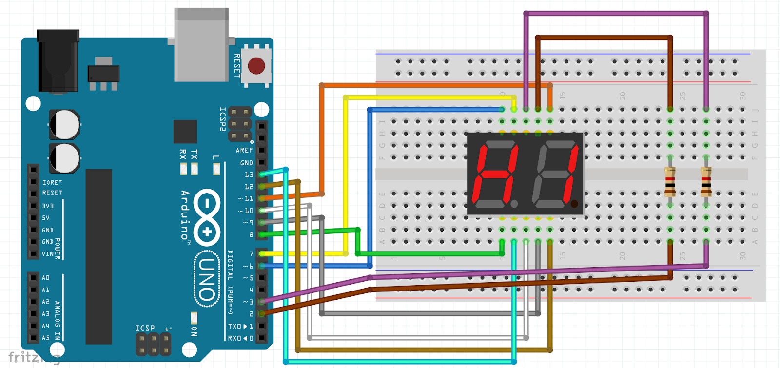 2 Digit 7 Segment 0 99 Counter With Arduino Here Is The Schematic For 2digit 7segment Display Circuit Click Wiring And